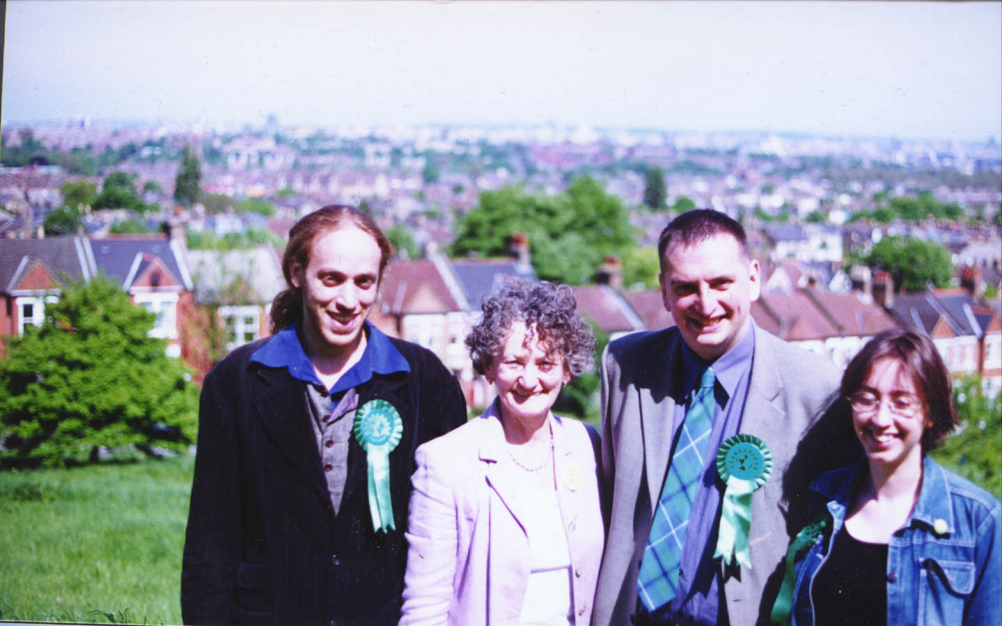 Störm Poorun, Jenny Jones, Darren Johnson, Ruth Jenkins on Dawson's Hill, Spring 2002